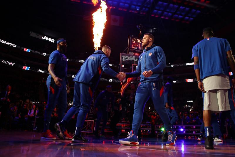 Blake Griffin walks onto the court for the Detroit Pistons.