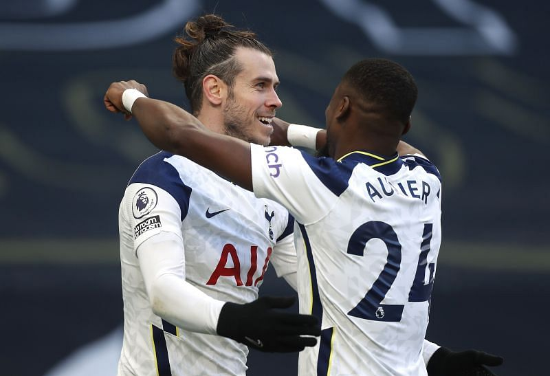 Gareth Bale celebrates one of his two goals for Tottenham Hotspur against Burnley on Sunday.