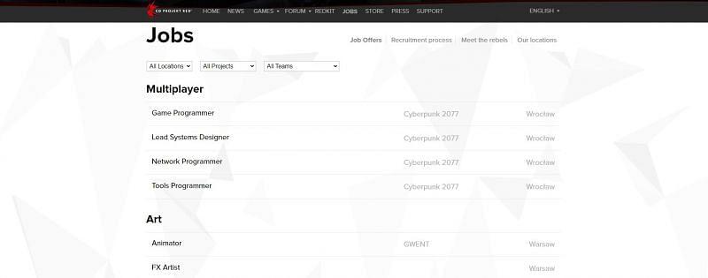 New job listings on CD Projekt Red