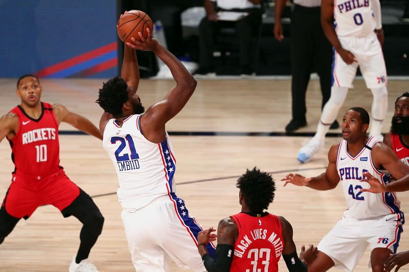 Joel Embiid #21 of the Philadelphia 76ers shoots the ball against the Houston Rockets