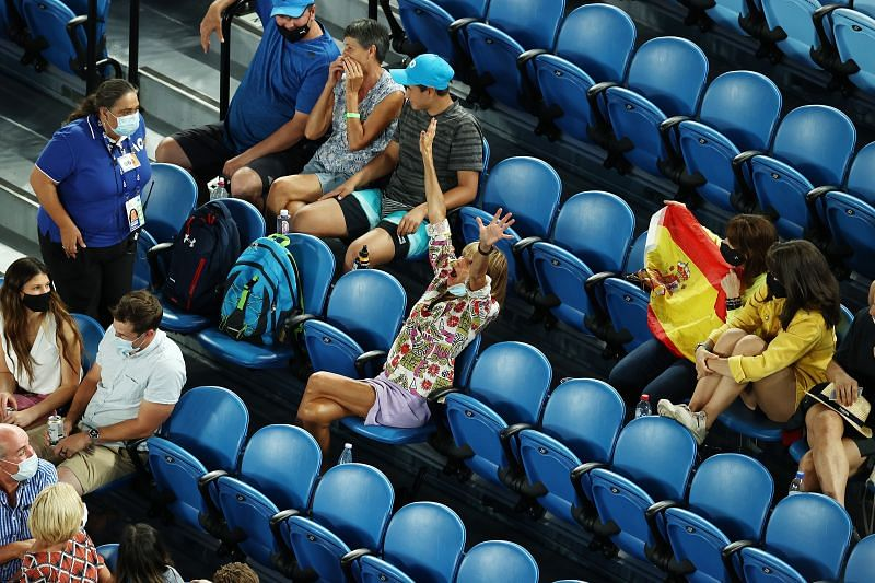 The woman who heckled Rafael Nadal (centre of the photo with arms raised)