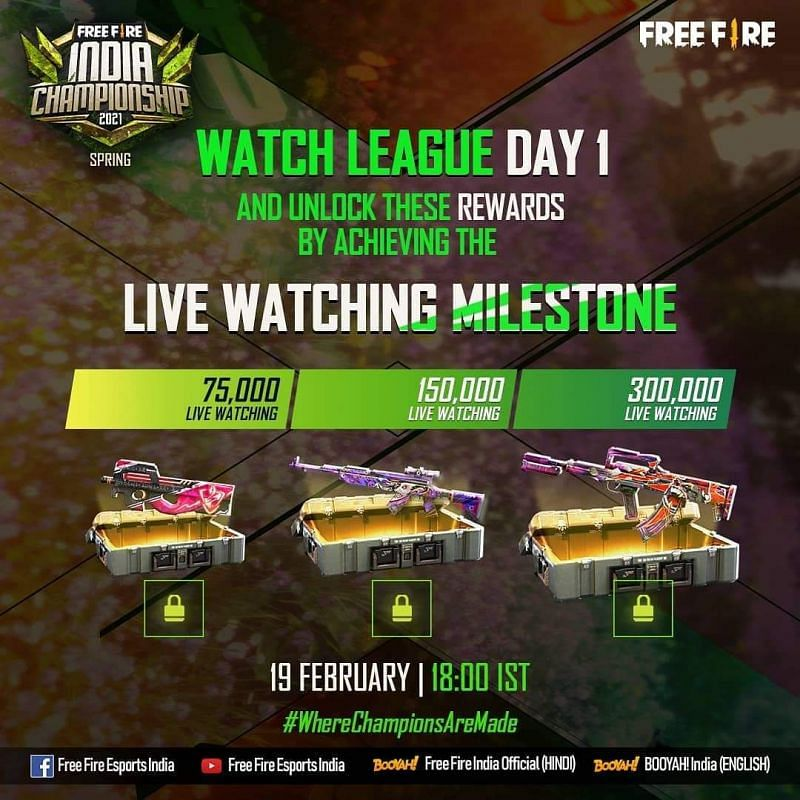 Free Fire India Championship 2021 league stage day 1 viewers rewards.
