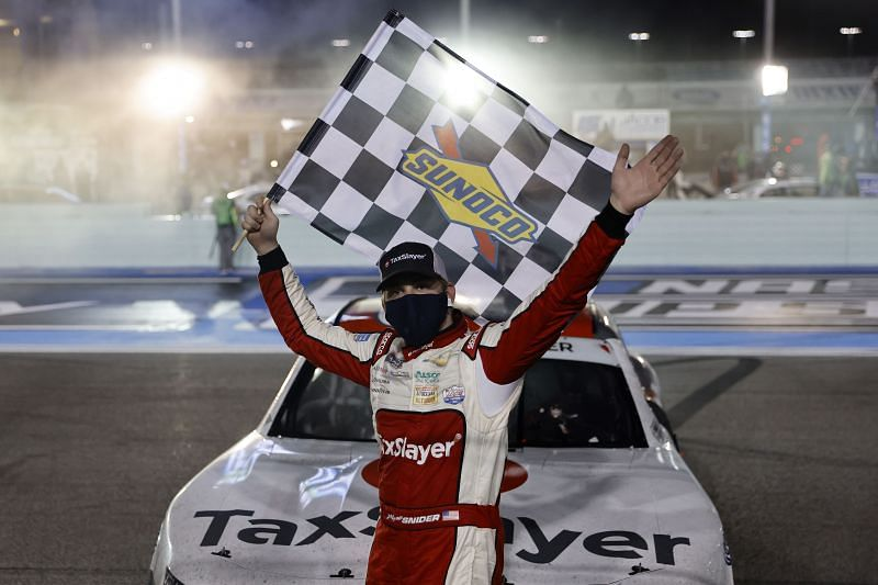 Myatt Snider captures his first Xfinity Series checkered flag after winning the Contender Boats 250 at Homestead-Miami Speedway. (Photo by Michael Reaves/Getty Images)