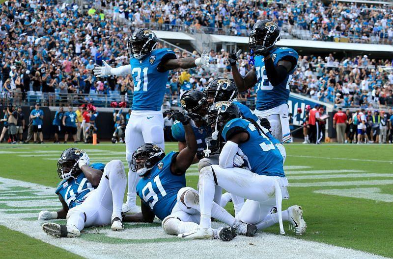 Jacksonville Jaguars defense celebrates a turnover
