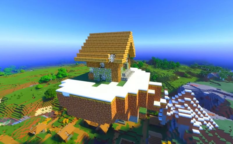 An abandoned villager house on a floating island in Minecraft (Image via Minecraft & Chill/YouTube)