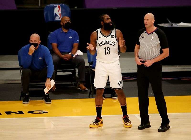 James Harden #13 of the Brooklyn Nets reacts to a play during the first quarter against the Los Angeles Lakers at Staples Center on February 18, 2021 in Los Angeles, California. (Photo by Katelyn Mulcahy/Getty Images)