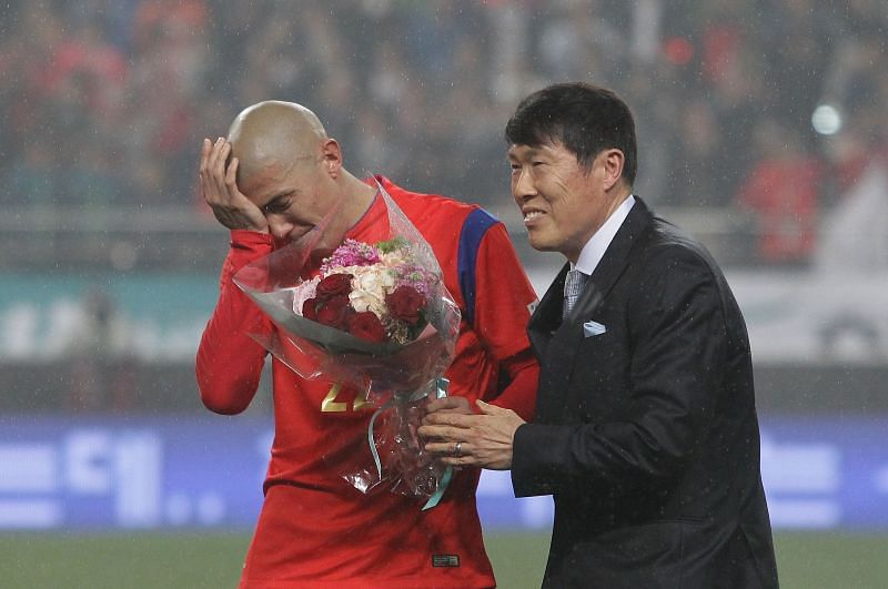 Cha Bum-Kun (right) is one of the most prolific Asian goal-scorers in the Bundesliga,