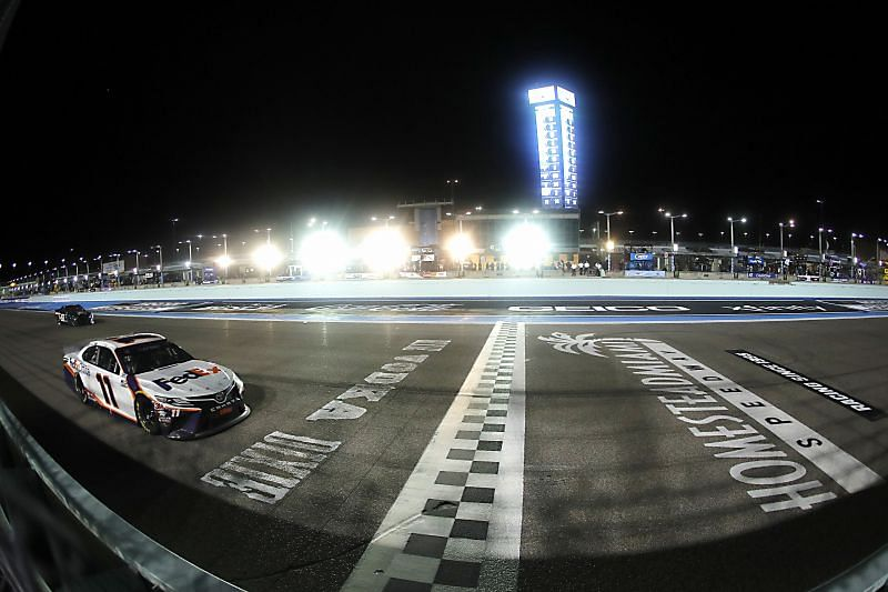 Denny Hamlin crossed the finish line at Homestead-Miami Speedway. Photo/Getty Images