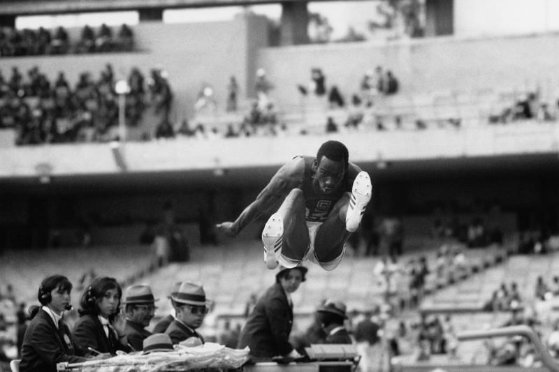 Bob Beamon giant leap at the 1968 Summer Olympics