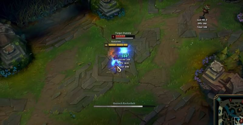 Katarina can cancel her Protobelt dash when timed right (Screengrab via Katlife YouTube channel- League of Legends)