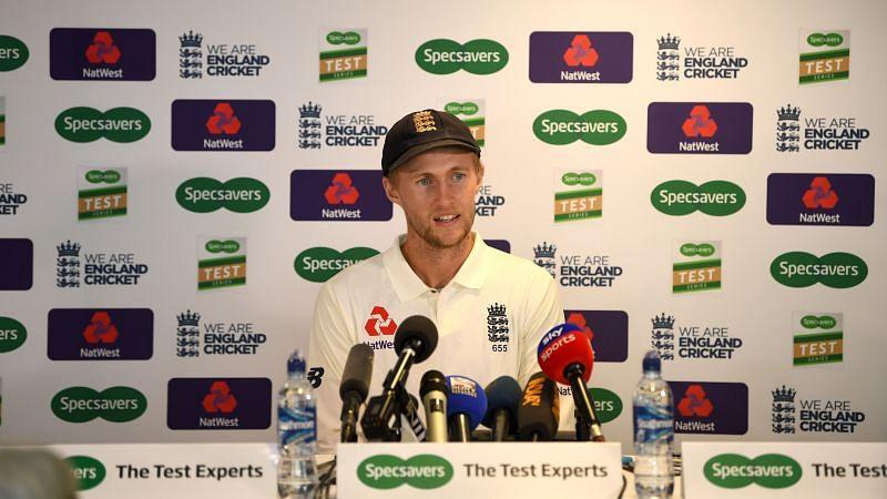 England skipper Joe Root speaking to the media
