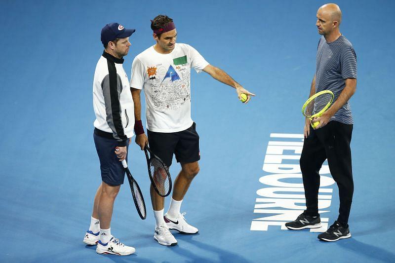 Roger Federer with Severin Luthi and Ivan Ljubicic