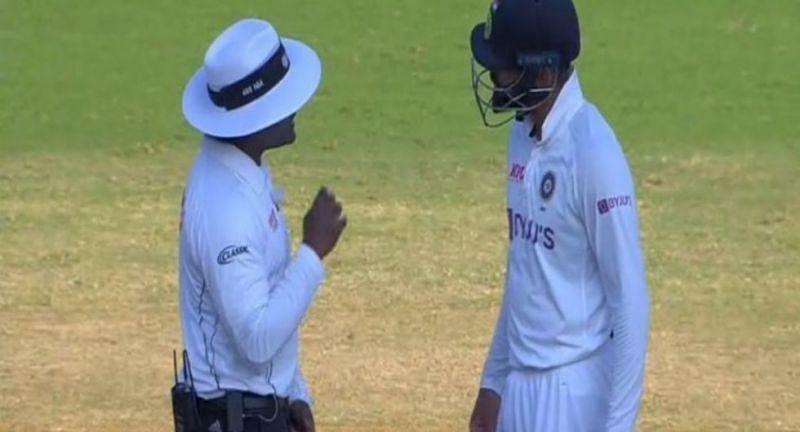 Virat Kohli in an argument with umpire Nitin Menon