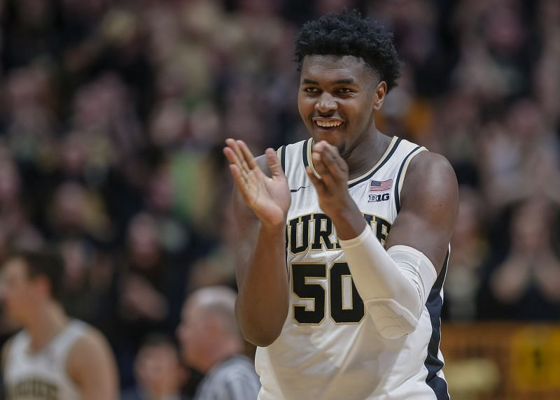 Trevion Williams #50 of the Purdue Boilermakers reacts during the second half of the game against the Minnesota Golden Gophers