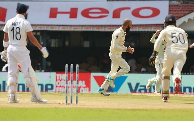 Moeen Ali celebrates the wicket of Virat Kohli