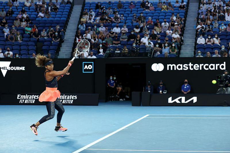 Naomi Osaka hitting a forehand during the 2021 Australian Open final