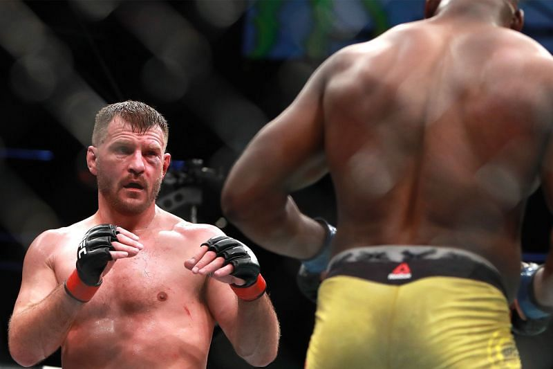 Stipe Miocic (L) believes a bulked-up Fancis NGannou will be easier to beat