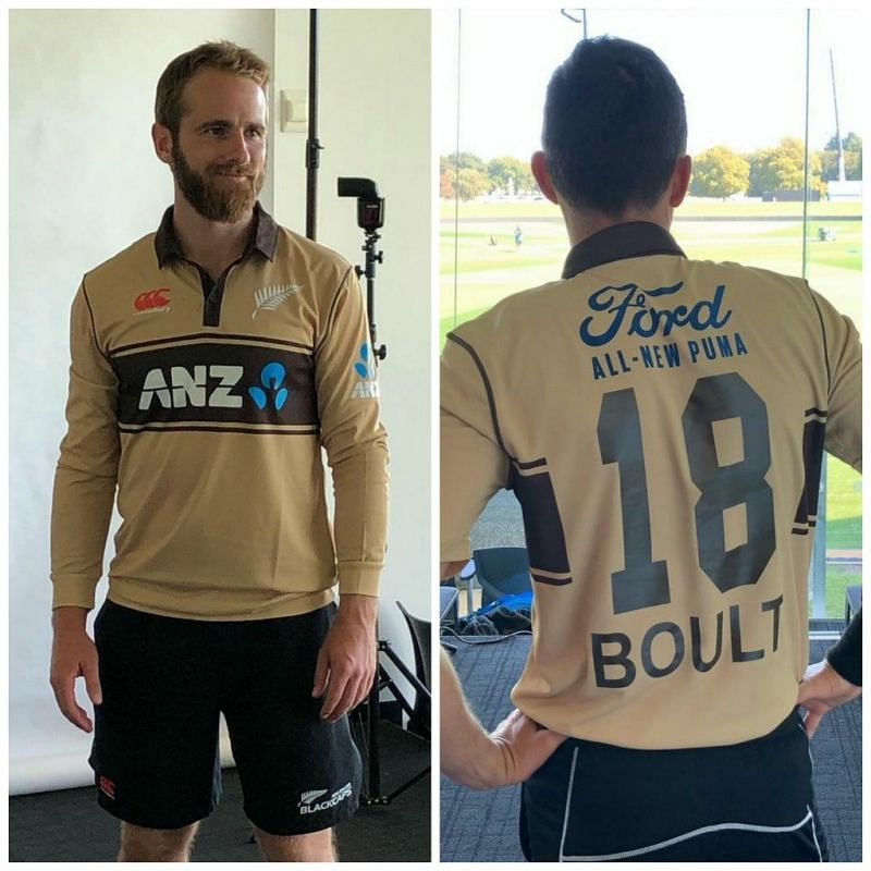 Kane Williamson (L) and Trent Boult in the new retro jersey. (Image source: blackcapsnz/instagram)