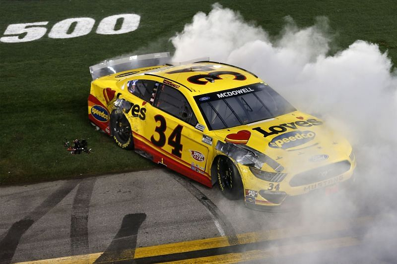 Michael McDowell celebrates his Daytona 500 win for team owner Bob Jenkins and Front Row Motorsports. Photo: Getty Images