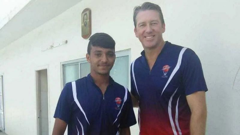 Chetan Sakariya with Glenn McGrath (right) at the MRF pace foundation