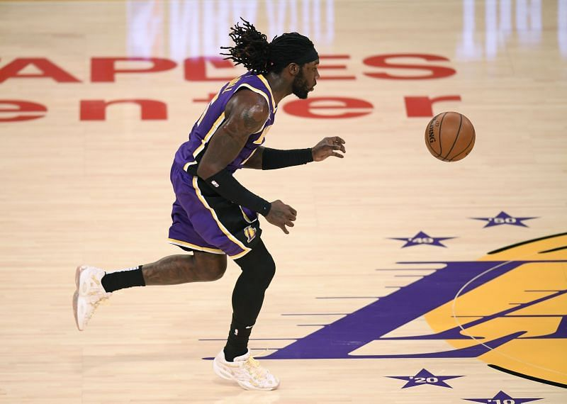 Montrezl Harrell #15 of the LA Lakers steals a pass at center court during Lakers win over the New Orleans Pelicans at Staples Center on January 15, 2021