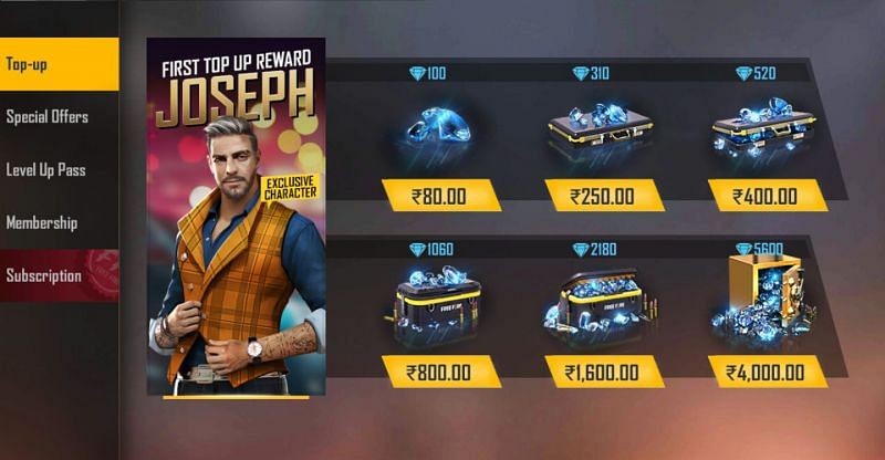 In-game top up for diamonds in Free Fire