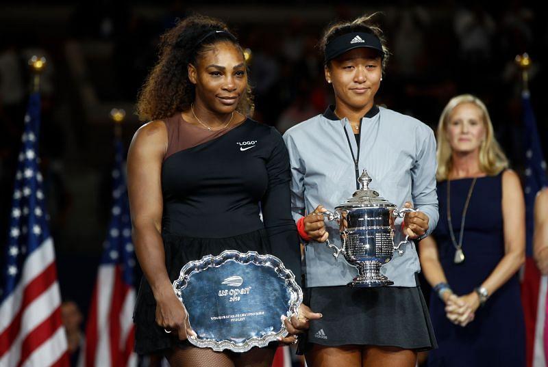 Serena Williams (L) and Naomi Osaka at the 2018 US Open