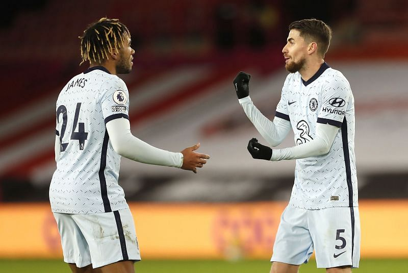 Jorginho (right) netted his second penalty in as many games for Chelsea.
