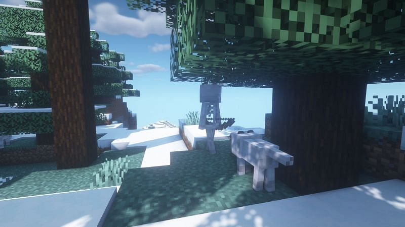 A skeleton being chased off (Image via Minecraft)