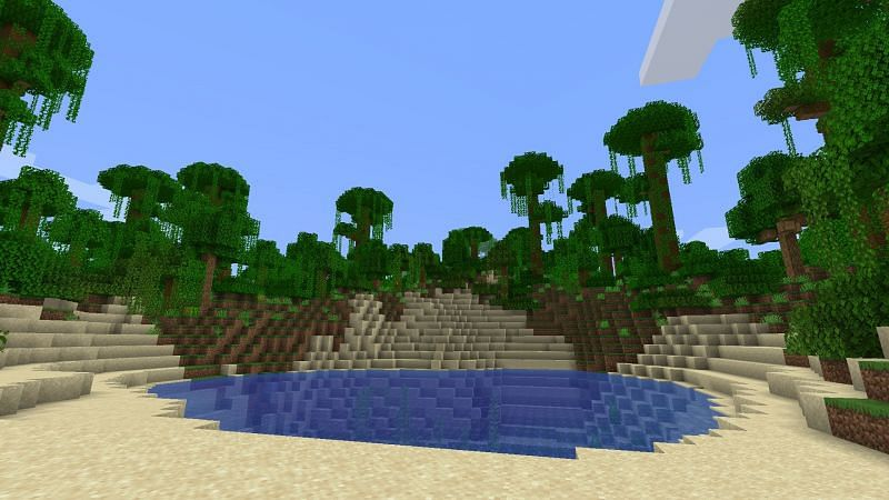 Jungle biomes can be spotted by looking for larger-than-normal trees with vines hanging from them (Image via Minecraft)
