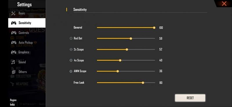 Best sensitivity for 6 GB RAM devices (Image via Free Fire)