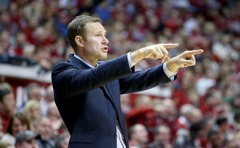 Fred Hoiberg the head coach of the Nebraska Cornhuskers gives instructions to his team