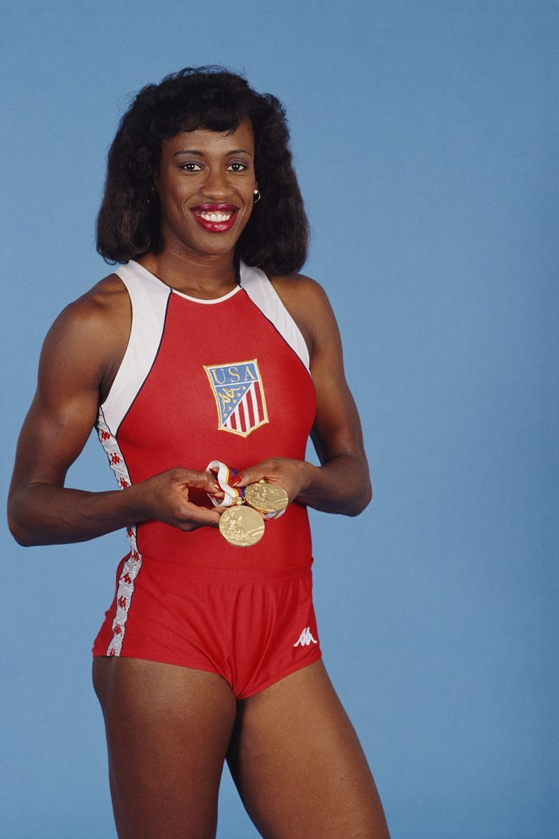 Jackie Joyner-Kersee with her gold medals at the Seoul Summer Olympic Games