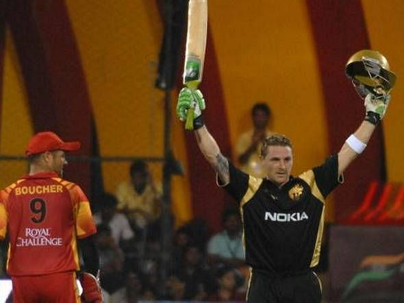 Brendon McCullum celebrates after scoring the first-ever IPL century. (Photo: Twitter)