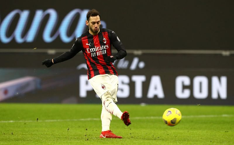 Hakan Calhanoglu in action for AC Milan