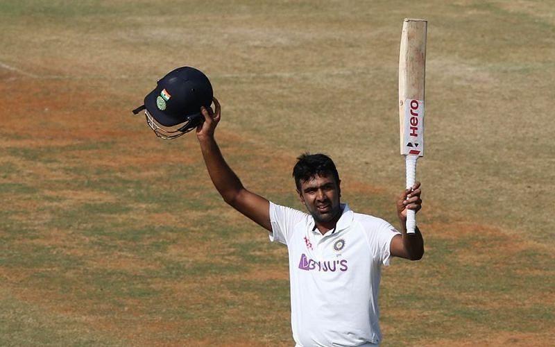 Ravichandran Ashwin celebrates his century in the 2nd India vs England Test at Chennai