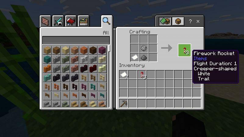Crafting a firework rocket in Minecraft