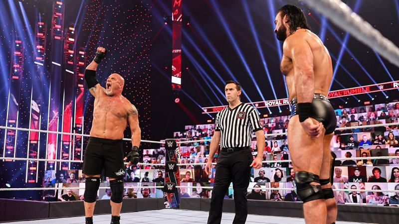 Goldberg and Drew McIntyre at Royal Rumble 2021.
