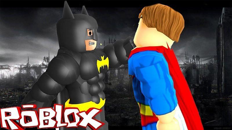 Batman and Superman fighting in Roblox. (Image via wallpapercave.com)