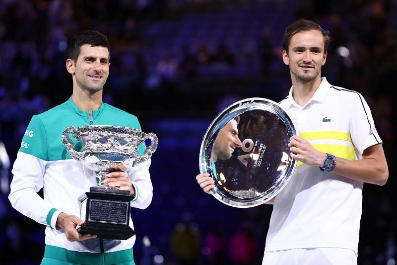 Novak Djokovic praised Daniil Medvedev during the trophy ceremony