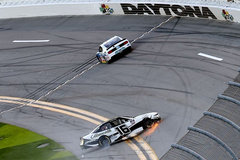 Austin Cindric pulls away after he and AJ Allmendinger tangle at the end of Stage 1 on Saturday. (Photo by James Gilbert/Getty Images)