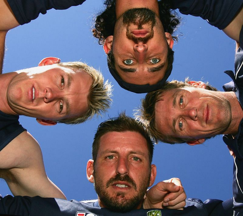 Clockwise: Australian pacers Glenn McGrath, Michael Kasprowicz, Brett Lee, and Jason Gillespie.