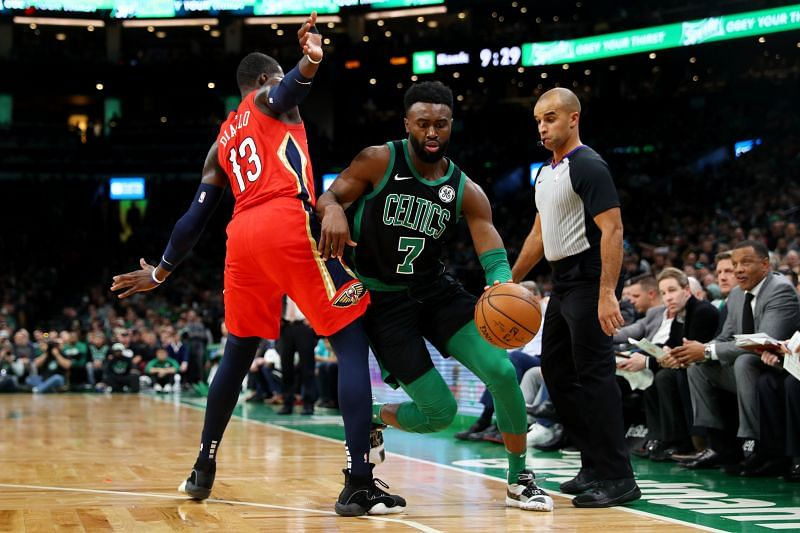 Jaylen Brown of the Boston Celtics in action against the New Orleans Pelicans