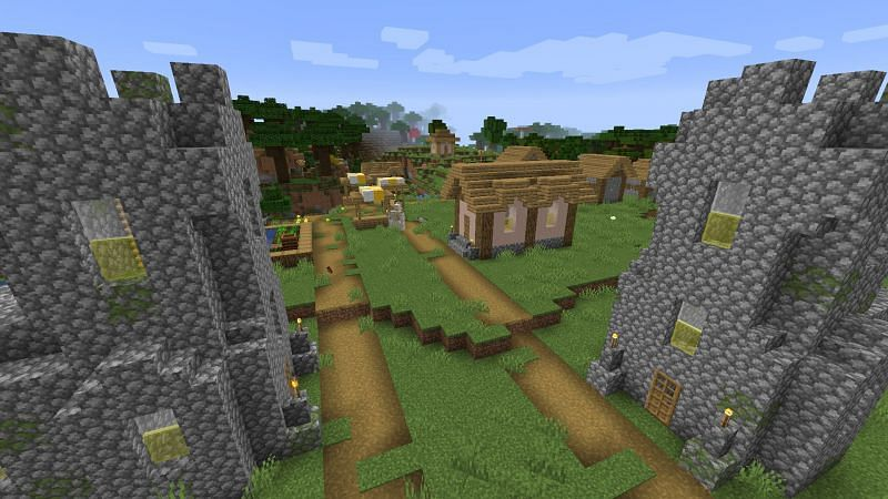 Real estate must be booming here! (Image via Minecraft)