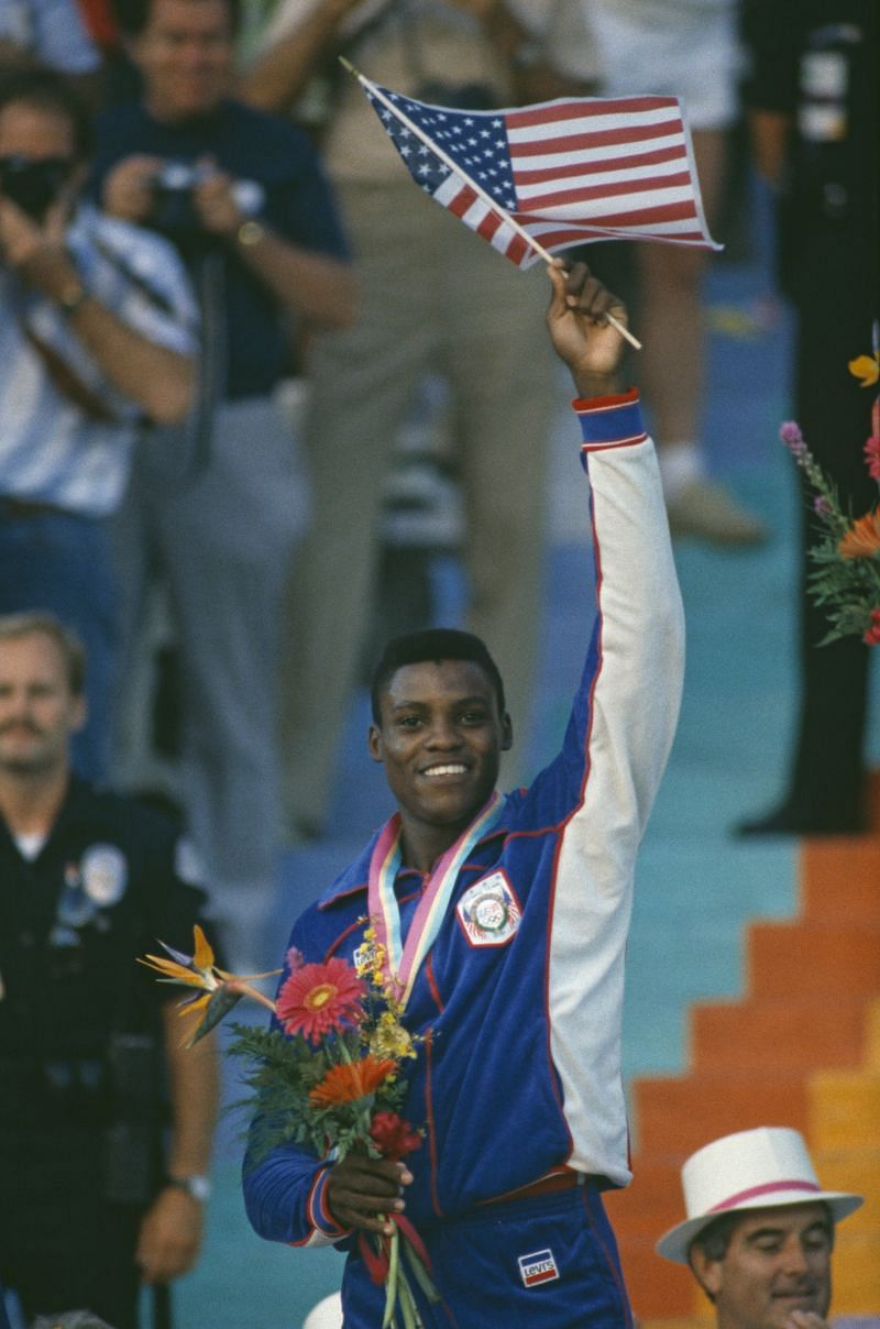 Carl Lewis in smiles during the 1984 Olympics