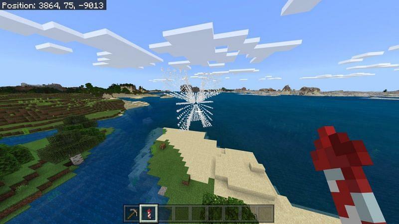 Using firework rocket in Minecraft