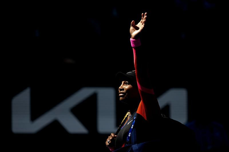 Serena Williams waves goodbye to the crowd following her loss to Naomi Osaka at the 2021 Australian Open