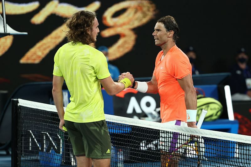 Rafael Nadal shakes hands with Stefanos Tsitsipas after their match