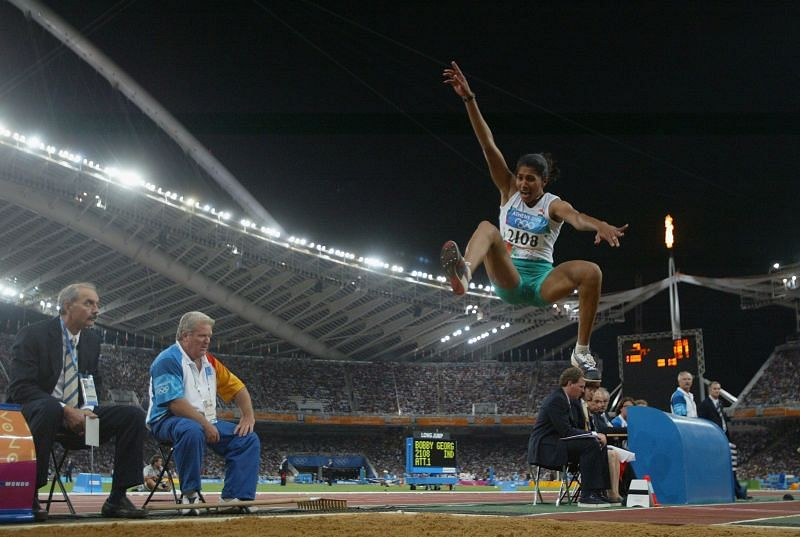 Anju Bobby George competing in long jump at Athens Olympics