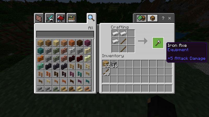 Crafting an iron axe